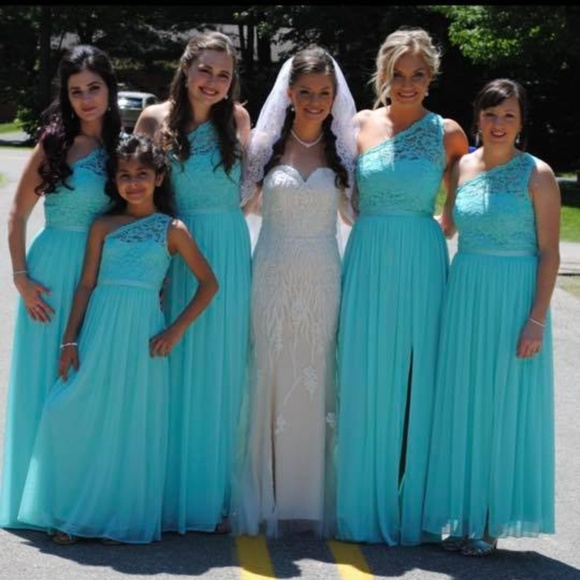 Long One Shoulder Lace Bridesmaid Dress Spa Blue